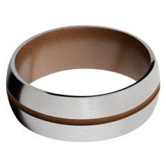 Titanium Men's Wedding Band with Copper Brown Cerakote