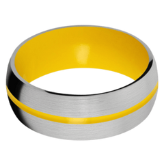 Titanium Men's Wedding Band with Corvette Yellow Cerakote