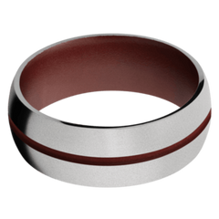 Titanium Men's Wedding Band with Crimson Cerakote