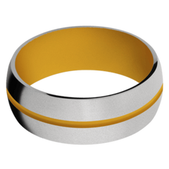 Titanium Men's Wedding Band with Dewalt Yellow Cerakote
