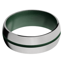 Titanium Men's Wedding Band with Eastern Green Cerakote