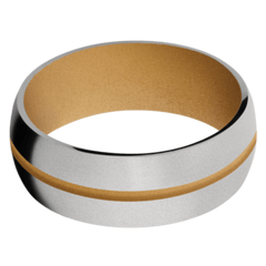 Titanium Men's Wedding Band with Gold Cerakote