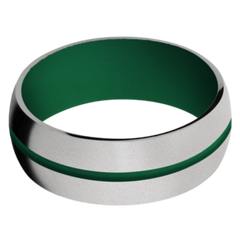 Titanium Men's Wedding Band with Green Cerakote