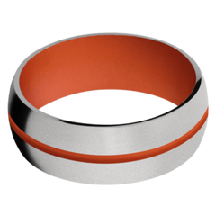 Titanium Men's Wedding Band with Hunter Orange Cerakote