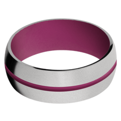Titanium Men's Wedding Band with Magenta Cerakote
