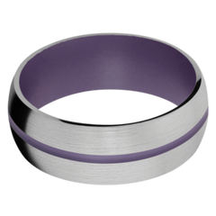 Titanium Men's Wedding Band with Pastel Purple Cerakote