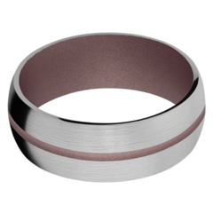 Titanium Men's Wedding Band with Pink Champagne Cerakote
