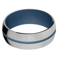 Titanium Men's Wedding Band with Polar Blue Cerakote