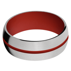 Titanium Men's Wedding Band with Red Apple Cerakote