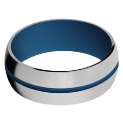 Titanium Men's Wedding Band with Ridgeway Blue Cerakote