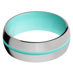 Titanium Men's Wedding Band with Robins Egg Blue Cerakote