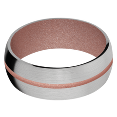 Titanium Men's Wedding Band with Rose Gold Cerakote