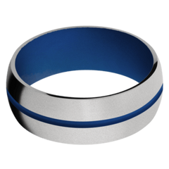 Titanium Men's Wedding Band with Royal Blue Cerakote