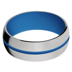 Titanium Men's Wedding Band with Sea Blue Cerakote