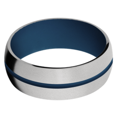 Titanium Men's Wedding Band with Sky Blue Cerakote