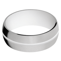Titanium Men's Wedding Band with Snow White Cerakote