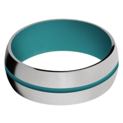 Titanium Men's Wedding Band with Teal Cerakote