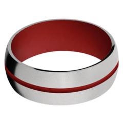 Titanium Men's Wedding Band with USMC Red Cerakote