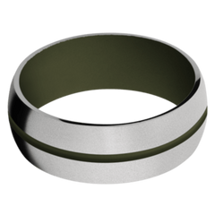 Titanium Men's Wedding Band with Vintage Green Cerakote