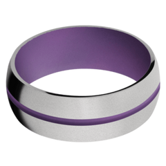 Titanium Men's Wedding Band with Wild Purple Cerakote