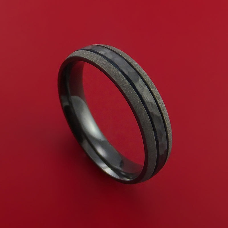 Hammered Black Zirconium Ring with Groove Inlay Custom Made Band