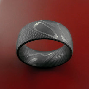 Wide Damascus Steel Ring Custom Made Band