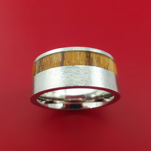 Wide Cobalt Chrome Ring with Hardwood Inlay Custom Made Band