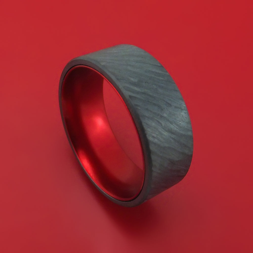 Black Zirconium with Tree Bark Finish and Red Anodized Sleeve Custom Made Band Choose Your Color