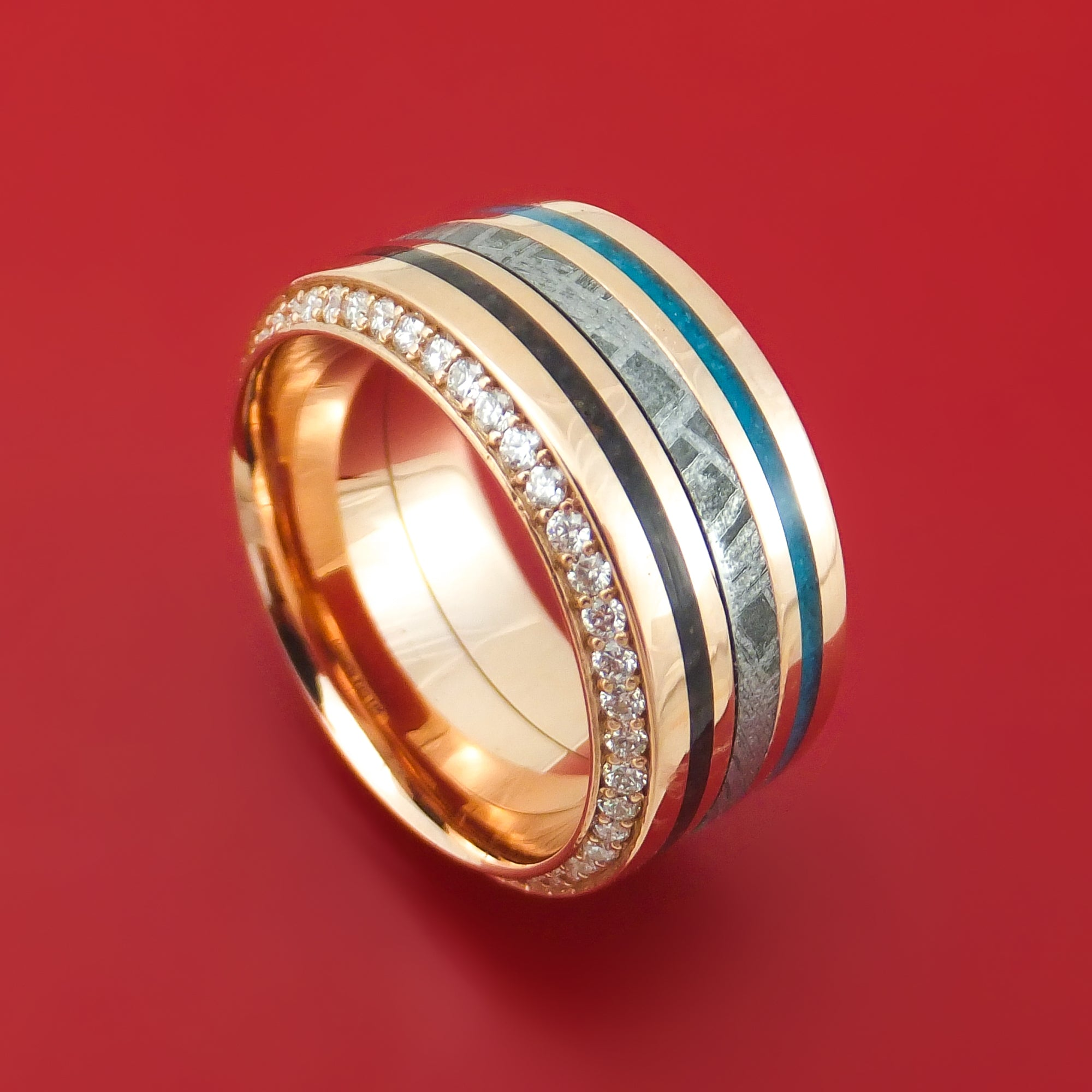 494d02f18a7e5 14K Rose Gold Eternity Diamond Ring with Meteorite, Dinosaur Bone and