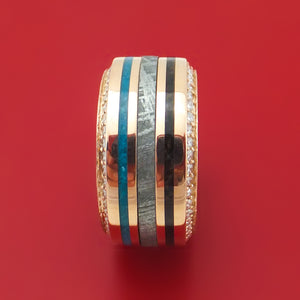 14K Rose Gold Eternity Diamond Ring with Meteorite, Dinosaur Bone and Turquoise Custom Made Band