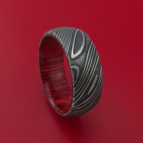 Kuro Damascus Steel Ring with Bahama Cherry Wood Hardwood Sleeve Custom Made Wood Band