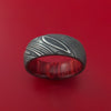 Kuro Damascus Steel Ring with Interior Hardwood Sleeve Custom Made Band