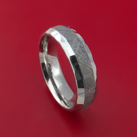 Cobalt Chrome and Gibeon Meteorite Hammered Ring Custom Made