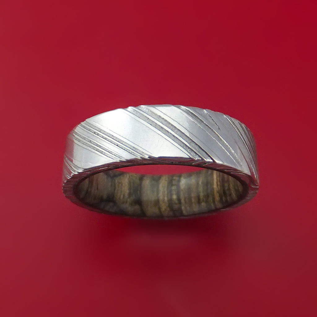 Kuro Damascus Steel Ring with Walnut Hardwood Sleeve Custom Made Wood Band