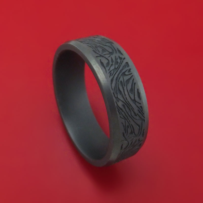 Blackened Tantalum Marble Design Band Custom Made Ring by Benchmark