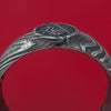 Kuro Damascus Steel Ring with Laser-Etched Masonic Emblem Inlay Custom Made Band