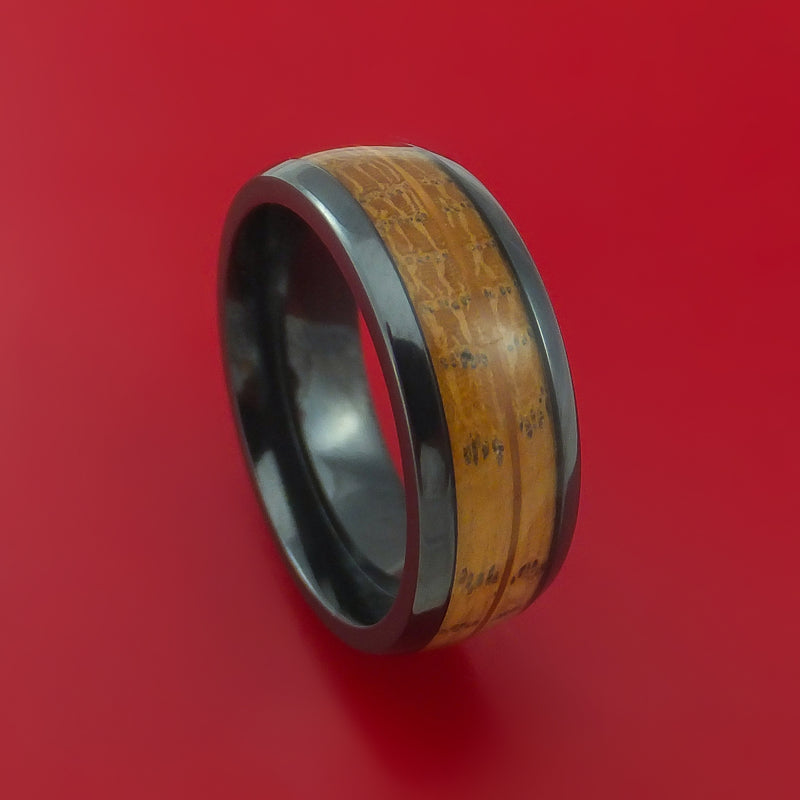 Wood Ring and Black Zirconium Band inlaid with JACK DANIELS Whiskey Barrel WOOD Custom Made to Any Size and Optional Wood Types