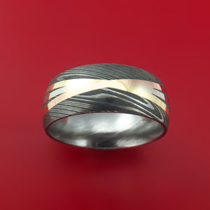 Damascus Steel Ring with Diagonal 14K White, Rose, and Yellow Gold Inlays Wedding Band Custom Made