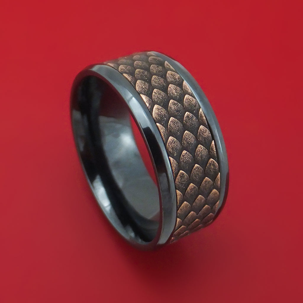 Black Titanium and Dragon Scale Textured 14K Rose Gold Ring by Ammara Stone
