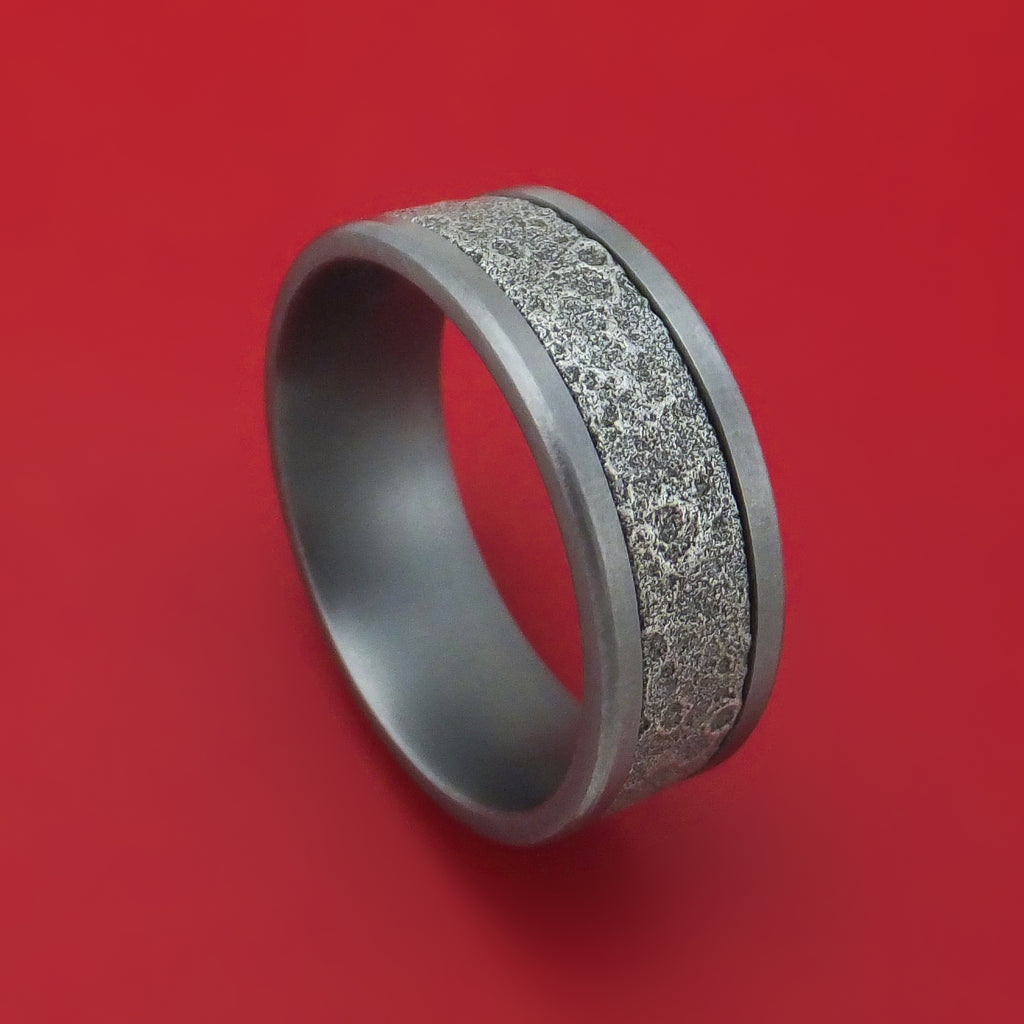 Tantalum and Moon Rock Textured 14K White Gold Ring by Ammara Stone