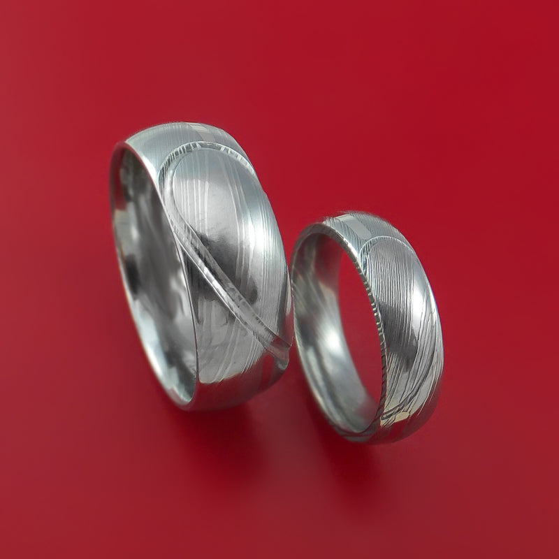 Matching Damascus Steel Heart Carved Ring Set with PALLADIUM Inlays Wedding Bands Genuine Craftsmanship