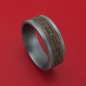 Tantalum and Wood Knot Textured 14K Yellow Gold Ring by Ammara Stone