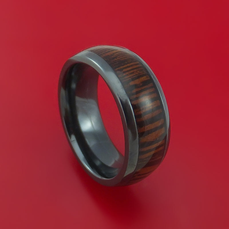 Wood Ring and Black Zirconium Band inlaid with WENGE WOOD Custom Made to Any Size and Optional Wood Types