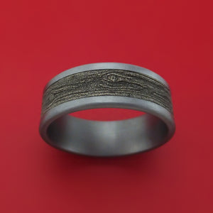 Tantalum and Wood Knot Textured 14K White Gold Ring by Ammara Stone