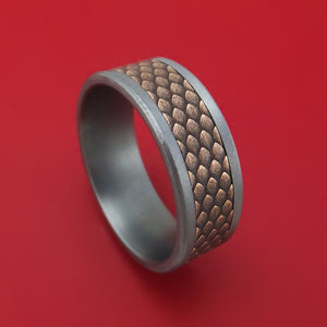 Tantalum and Dragon Scale Textured 14K Rose Gold Ring by Ammara Stone