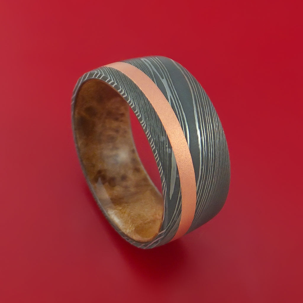 Wide Damascus Steel Ring with Copper Inlay and Interior Hardwood Sleeve Custom Made Band