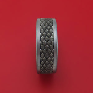 Tantalum and Dragon Scale Textured 14K White Gold Ring by Ammara Stone