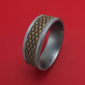 Tantalum and Dragon Scale Textured 14K Yellow Gold Ring by Ammara Stone