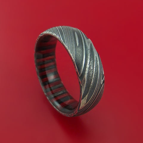 Kuro Damascus Steel Ring with Applejack Wood Hardwood Sleeve Custom Made Wood Band