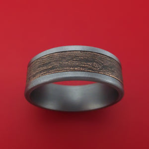 Tantalum and Wood Knot Textured 14K Rose Gold Ring by Ammara Stone